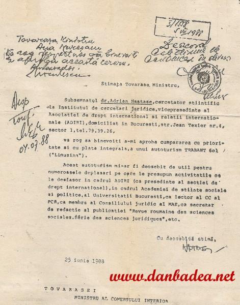 Pe vremuri se milogea la Ana Muresan, ministrul Comertului, sa+i dea aprobare pentru un TRABANT! Ce vremuri umilitoare pentru cel mai bogat român în viaţă!