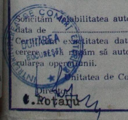Semnătura oficiala a lui Constantin Rotaru de la ICE Dunarea