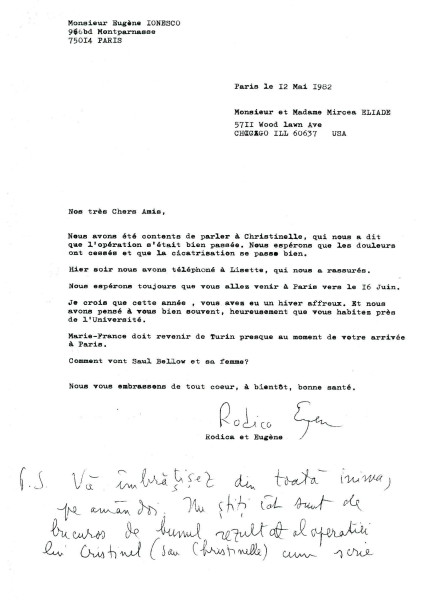 Scrisoarea lui Eugen Ionesco adresata lui Mircea Eliade (pag 1)