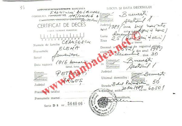 certificat deces Elena C