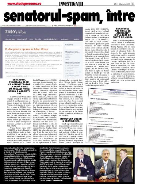Iulian Urban, senatorul-spam, intre incompatiblitate si impostura (pag 2)