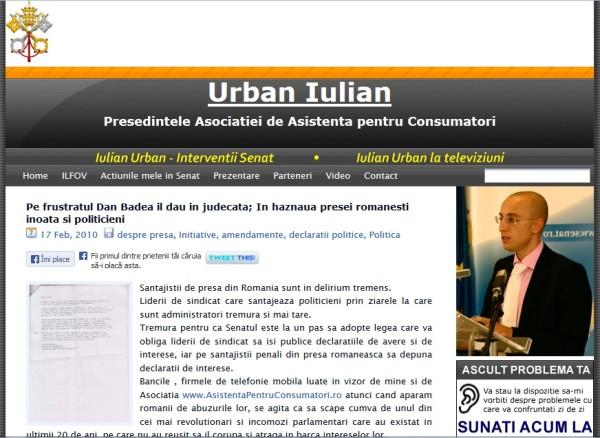 Atacul imund, execrabil, si nedrept al lui Iulian Urban la adresa mea, textul incriminat fiind semnat de catre altcineva.