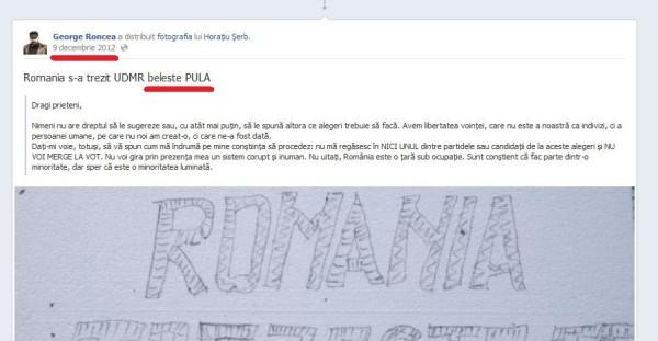 Asa scrie obsedatul George Roncea, infiltrat ca atatia golani betivi in presa romana