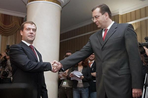 Medvedev (stânga) şi Marian Lupu (dreapta)