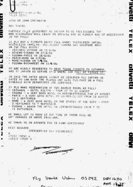 """Voiculescu cere, in 1986, in plin regim dictatorial, conditii de NABAB pentru neamurile lui cu cefe rosii. Cui ii cere? """"Paravanului"""" plasat, ca SEF, in fruntea CRESCENT!"""