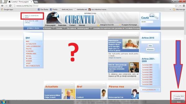 Aşa arăta, pe 5 martie 2014, prima pagina a ziarului Curentul din 12 nov. 2010. Borfaşul Iacob a scos textul din pagina.