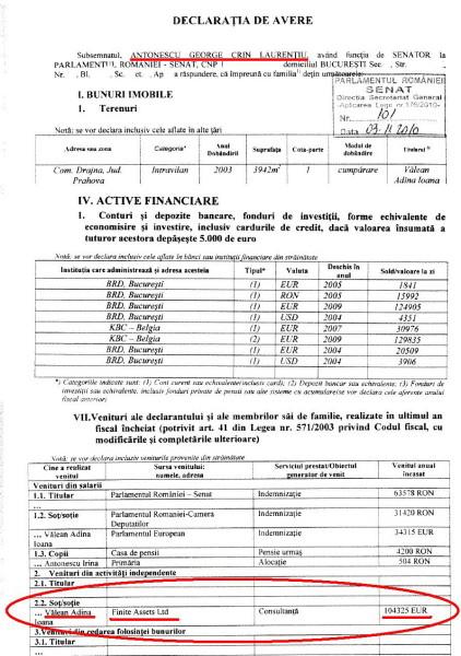 Declaratie de avere Crin Antonescu