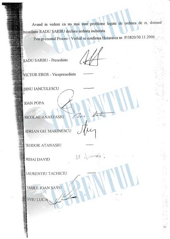 Semnaturile participantilor la sedinta CA al FPS din 29.11.2000. Ultimul pe lista este Liviu Luca