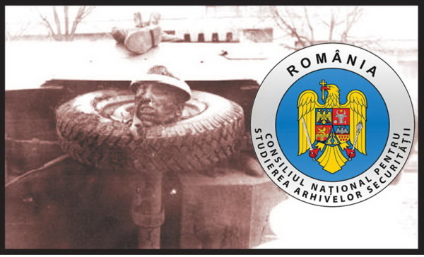 Capul unuia dintre subordonaţii lui Gheorhghe Trosca (Ion Muicaru) infipt in osia unuia dintre ABI-urile rasturnate