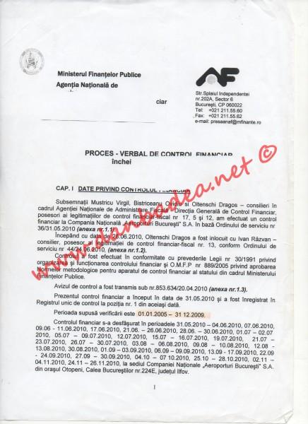 ANAF: Proces verbal de control financiar la Aeroportul Otopeni