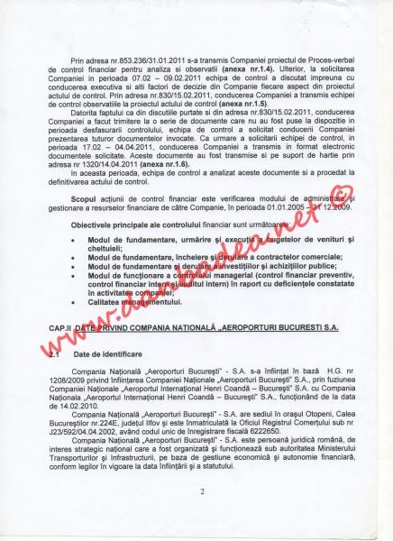 ANAF: Proces verbal de control financiar la Aeroportul Otopeni (pag.2)