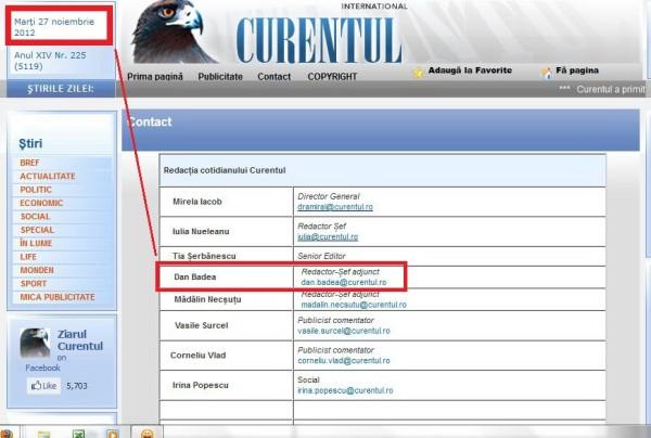 Caseta tehnica a ziarului CURENTUL din 27 nov 2012