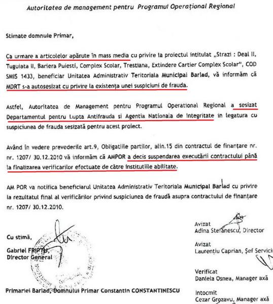 Fragment din adresa subalternilor lui Murgeanu către Primarul Bârladului, care era anunțat de suspendarea lucrărilor pe motiv de denunț în Curentul
