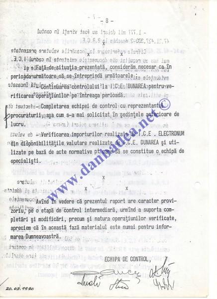 Primul Raport informativ, postdecembrist, despre ICE Dunarea, ajuns pe masa ministrului Justitiei, Teofil Pop. Raportul fusese cerut in vederea stabilirii eventualelor deturnari de fonduri de care era suspectata ICE Dunarea.