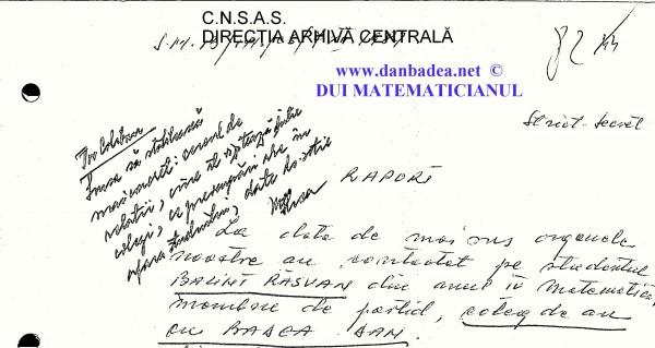 """Rezoluția pusă de superiorul ofițerului care se ocupa de caz atrăgea atenția securistului facultății, lt.col Silvia Coliban, să obțină date concrete dela SURSA RĂSVAN BALINT: """"cadrul de relații, cine îl vixzitează dintre colegi, ce preocupări are în afara studiului, date despre soție"""""""