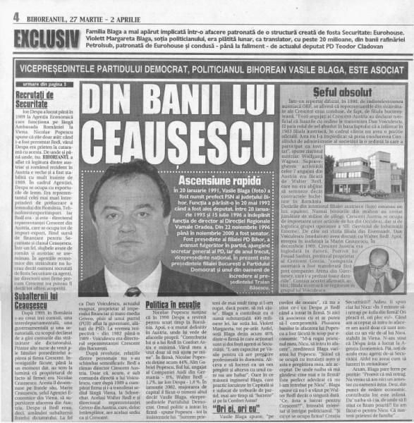 Articol din presa vremii - Bihoreanul 2002