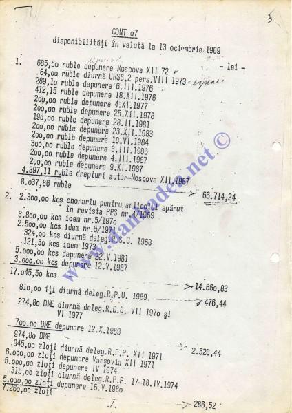 Contul lui Nicolae Ceausescu pe 13 oct.1989: 84.666,47 lei