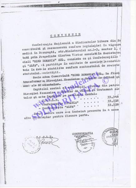 Conventia de infiintare a SIND ROMANIA si impartirea procentajului intre cele trei confederatii sindicale