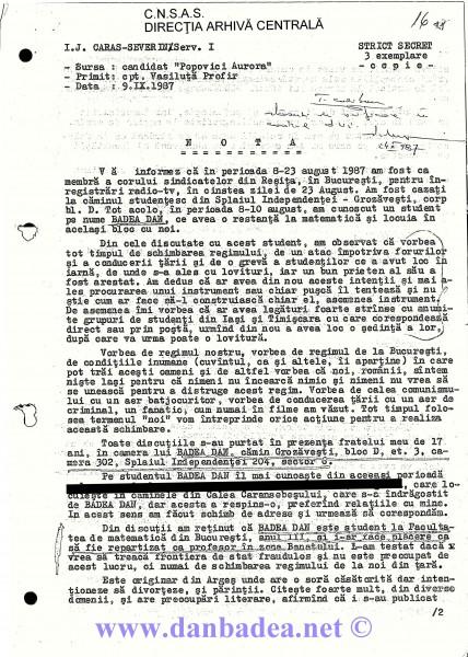 """09 sept. 1987: NOTA """"coristei"""" din Reșița, de la care a început totul. Sunt descris ca un fanatic dispus să comită un atentat și să participe la schimbarea """"regimului de la București"""". (pag.1)"""