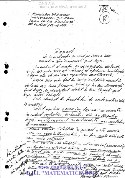 Raportul făcut după ureche de milițianul adjunct din Dîrmănești/Argeș