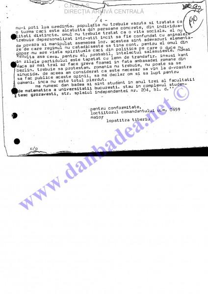 Scrisoarea semantă de mine si difuzată la Europa Liberă pe 6 decembrie 1987, fiind citită de Ioana Măgură Bernard și Vlad Georgescu (pag 4)