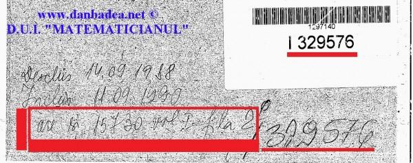 """Fragment din coperta 1 a dosarului DUI """"MATEMATICIANUL"""", cu indicația ce face trimitere la distrugerea unor documente dintr-un alt dosar în care apărea numele meu"""