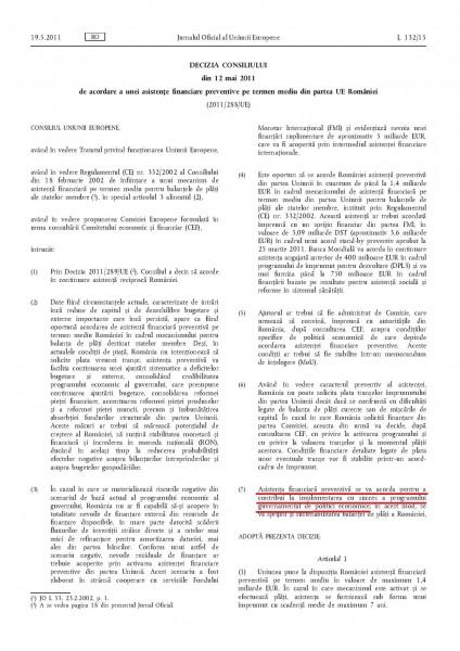 Decizia Consiliului UE din 12 mai 2011, de acordare a unei asistențe financiare preventive pe termen mediu din partea UE României (pag1)