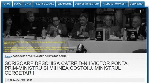 Site-ul care a publicat Scrisoarea deschisă a profesorului Cezar Giosan