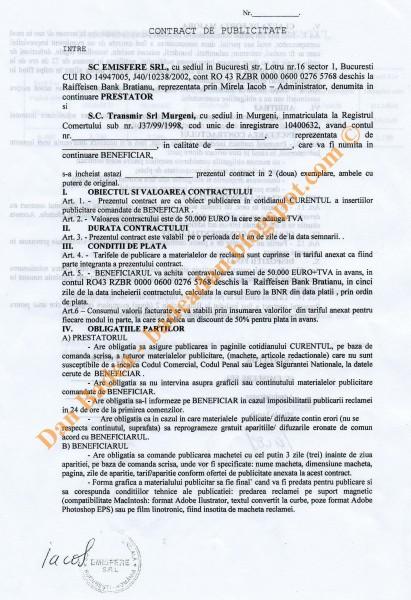Contract de publicitate pregătit pentru TRANSMIR (pag.1)
