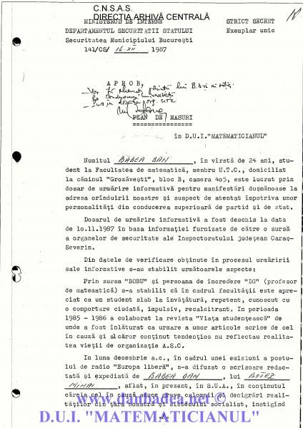 Primul PLAN DE MĂSURI după anchetele începute în subsolul SMB, în noaptea de 10 decembrie 1987, anchete care se terminau spre dimineață, când eram dus la cămin pentru că nu se luase decizia arestării mele.