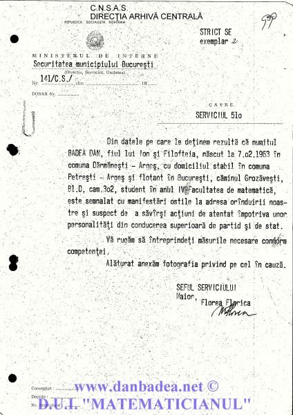 """Adresa privind """"atentatorul"""" Dan Badea, cu fotografie anexată, trimise către Serviciul 510 (""""Trasee"""") din cadrul SMB"""
