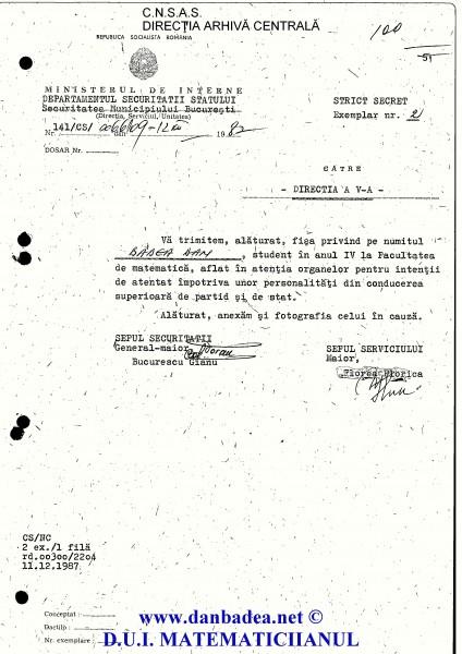 """11.12.1987: Adresa SMB, semnată de Goran, prin care sunt semnalat, cu poza de rigoare, Direcției a V-a pentru """"intenții de atentat împotriva...""""..."""