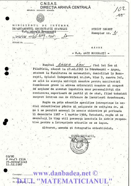 Adresa către Unitatea de Filaj (UM 0672) unde aveam interdicție o lună în plus față de USLA...