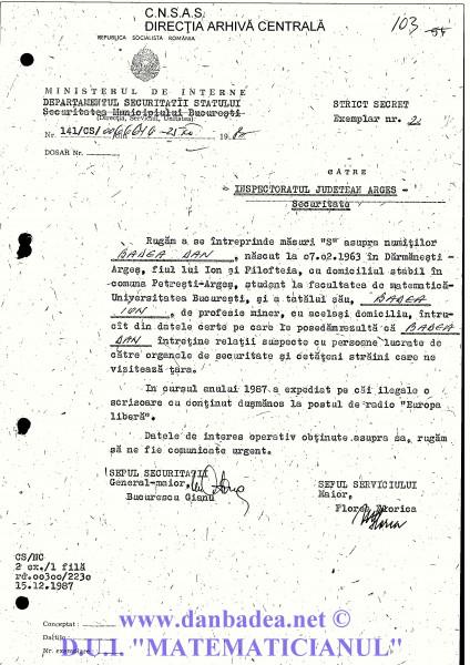 Adresa trimisă de SMB către Securitatea din Argeș (județul de unde proveneam) prin care se cere interceptarea corespondenței mele și a tatălui meu, miner...