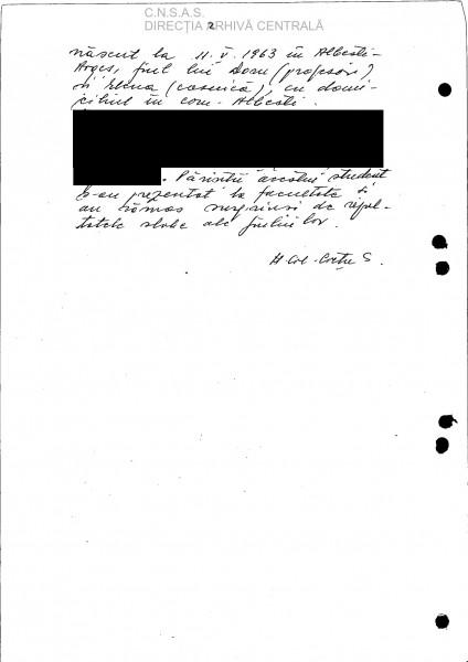 pag 2 a Raportului făcut pe baza turnătoriei lui BOBU