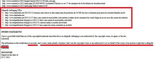 Reclamația absurdă de pe 17 mai 2013, ce conține materialele incriminatoare pentru cei doi iacobi.