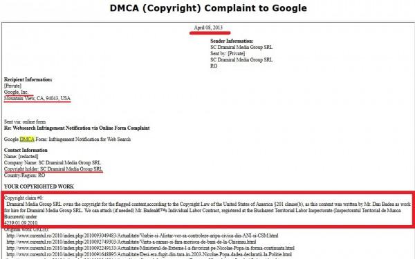 Reclamația către Google, din 8 aprilie 2013, în care sunt vizate 129 de materiale apărute pe acest site, danbadea.net, inclusiv adrese oficiale ale guvernului României (fragment).