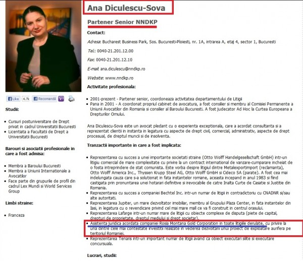 Ana Diculescu-Șova - apărătorul companiei Roșia Montana Gold Corporation - mămica fiului ei Dan Coman-Șova, cel care apără interesele statului român în afacerea apărată de...mămica lui.