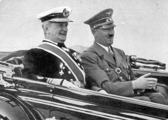 Admiral Miklós Horthy, Regent of the Kingdom of Hungary, during a conference with Adolf Hitler