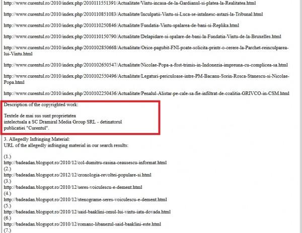 justificarea reclamației la GOOGLE, împotriva mea, făcute de DRAMIRAL pe 7 februarie 2013