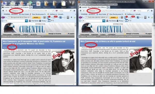 ALT PLAGIAT clar, comis de CURENTUL, prin publicarea în ziar, cu o altă semnătură, a unui text realizate de mine și semnate inițial cu numele meu!  La fel, CURAT MURDAR, COANĂ IACOB! Măcar să fi șters EXCLUSIV-ul de pe fotografia lui Nicu Ceaușescu, că nu poate fi eclusiv și în 2011 și în 2012, plagiatori ordinari!