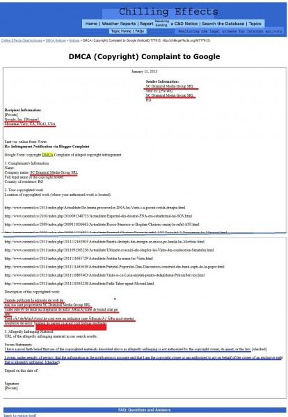 Fragmente din prima reclamație făcută la BLOGGER de Mirela Iacob, patronul DRAMIRAL MEDIA GROUP SRL, pentru desființarea contului meu de pe Blogspot (badeadan.blogspot.com) , plângere înregistrată pe 11 ianuarie 2013