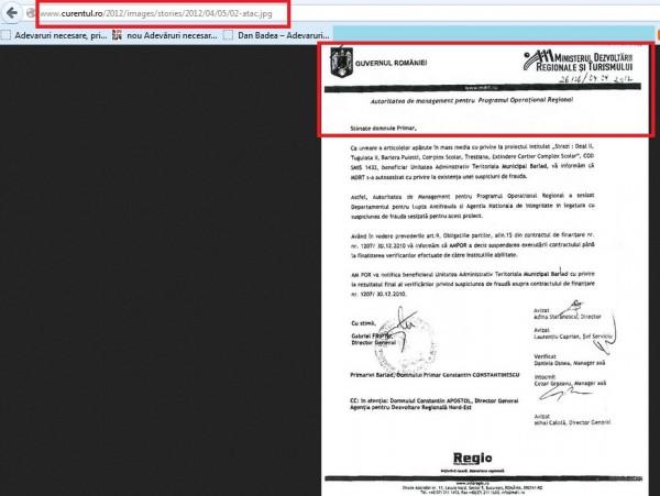 Reclamație făcută de Mirela Iacob pentru publicarea de către mine a unui document oficial trimis de MDRT unui primar, doar pentru că documentul a apărut și în Curentul. Abuzul este penal. Se numește sperjur, fals în declarații și uz de fals! Mitomana este, deci, penală.