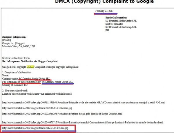 Dovada trimiterii către Google, a unei liste ce conține, alături de alte materiale, documente oficiale emise de guvernul român, în cazul de față adresa trimisă de MDRT unui primar. Este vorba despre documentul aflat la adresa web: http://www.curentul.ro/2012/images/stories/2012/04/05/02-atac.jpg