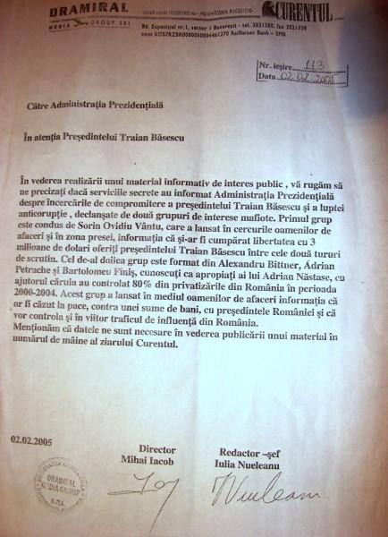 Faxul ultimativ trimis de Mihai Iacob președintelui Traian Băsescu, pe 2 februarie 2005