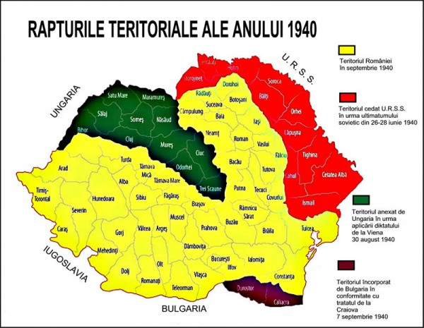 Asa arăta România (galben) în septembrie 1940 după ce a fost ciopârțită - fără a se trage un singur foc de armă împotriva inamicilor - de sovietici, unguri și bulgari cu acordul Germaniei naziste
