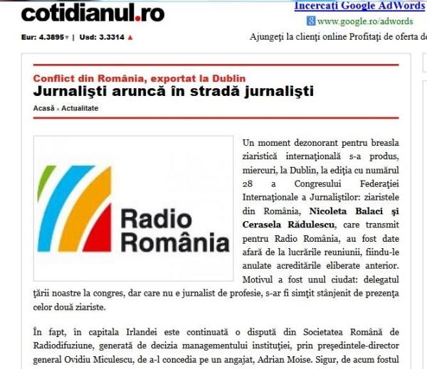 Articol din Cotidianul.ro în care se face reclamă mascată SRR.