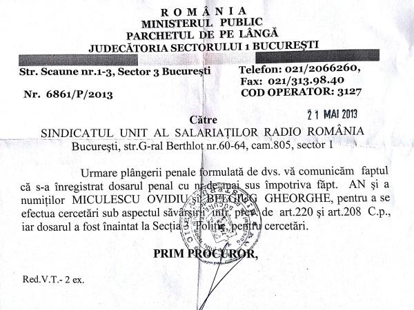 Ovidiu Miculescu, cercetat penal la sesizarea SUS-RR pentru tulburare de posesie (art 220 CP) și furt (art 208 CP)