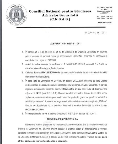 """Adeverința CNSAS care confirma că Ovidiu Miculescu a semnat un Angajament cu Securitatea, sub numele conspirativ """"ADRIAN""""!"""