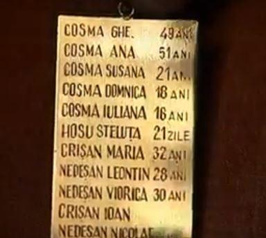Plăcuța (pandantiv), pe care au fost consemnați morții din familia Cosma, purtata la gat de un supravietuitor (copil pe atunci) din localitatea Ip.